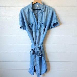 H&M Chambray Snap Front Shirt Dress Size 10